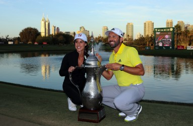 Sergio Garcia of Spain and his girlfriend Angela Akins pose with the winners trophy after Garcia won the 2017 Omega Dubai Desert Classic on the Majlis Course at the Emirates Golf Club on February 5, 2017., Image: 315447423, License: Rights-managed, Restrictions: , Model Release: no, Credit line: Profimedia, TEMP EPA