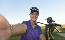 PHOENIX, AZ - MARCH 19: Anna Nordqvist of Sweden takes a selfie with the trophy after winning the Bank Of Hope Founders Cup at Wildfire Golf Club at the JW Marriott Desert Ridge Resort on March 19, 2017 in Phoenix, Arizona.   Steve Dykes, Image: 325873981, License: Rights-managed, Restrictions: , Model Release: no, Credit line: Profimedia, Getty images