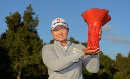 CARLSBAD, CA - MARCH 26: Mirim Lee of Korea holds the winner's trophy after her -20 under par (268) tournament record during the Final Round of the KIA Classic at the Park Hyatt Aviara Resort on March 26, 2017 in Carlsbad, California.   Donald Miralle, Image: 326614372, License: Rights-managed, Restrictions: , Model Release: no, Credit line: Profimedia, Getty images
