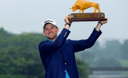 Bernd Wiesberger of Austria poses with the trophy after winning the Shenzhen International golf tournament in Shenzhen, in China's southern Guangdong province on April 23, 2017., Image: 329935712, License: Rights-managed, Restrictions: CHINA OUT, Model Release: no, Credit line: Profimedia, AFP