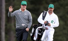 AUGUSTA, GA - APRIL 06: Charley Hoffman of the United States and caddie Brett Waldman react on the 18th hole during the first round of the 2017 Masters Tournament at Augusta National Golf Club on April 6, 2017 in Augusta, Georgia.   Rob Carr, Image: 328175325, License: Rights-managed, Restrictions: , Model Release: no, Credit line: Profimedia, Getty images