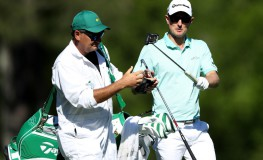 AUGUSTA, GA - APRIL 08: Justin Rose of England swaps clubs with caddie Mark Fulcher during the third round of the 2017 Masters Tournament at Augusta National Golf Club on April 8, 2017 in Augusta, Georgia.   David Cannon, Image: 328394915, License: Rights-managed, Restrictions: , Model Release: no, Credit line: Profimedia, Getty images