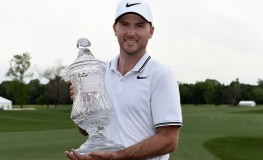 HUMBLE, TX - APRIL 02: Russell Henley poses with the trophy on the 18th green after winning the Shell Houston Open at the Golf Club of Houston on April 2, 2017 in Humble, Texas.   Stacy Revere, Image: 327507710, License: Rights-managed, Restrictions: , Model Release: no, Credit line: Profimedia, Getty images