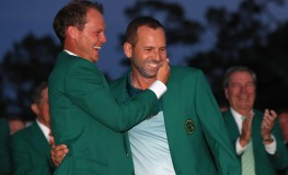 AUGUSTA, GA - APRIL 09: (L-R) Danny Willett of England congratulates Sergio Garcia of Spain during the Green Jacket ceremony after Garcia won in a playoff during the final round of the 2017 Masters Tournament at Augusta National Golf Club on April 9, 2017 in Augusta, Georgia.   Andrew Redington, Image: 328495887, License: Rights-managed, Restrictions: , Model Release: no, Credit line: Profimedia, Getty images