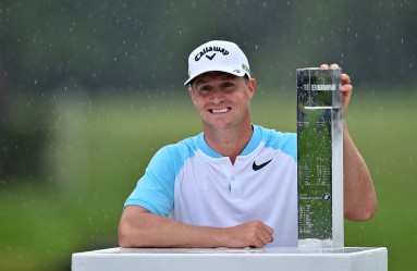 Sweden's Alex Noren poses with the trophy after winning the PGA Championship at Wentworth Golf Club in the town of Virginia Water in Surrey, southwest of London, on May 28, 2017.  Sweden's Alex Noren came from seven shots off the pace in the final round to win the European PGA Championship by two shots here at Wentworth on Sunday. The 34-year-old produced some stunning golf to go round in 62 –- 10-under-par –- for a winning total of 277, 11-under., Image: 333877853, License: Rights-managed, Restrictions: , Model Release: no, Credit line: Profimedia, AFP