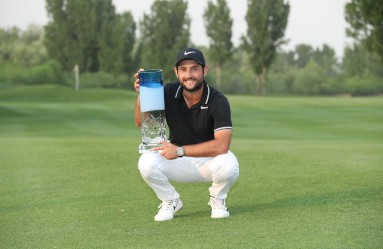 France's Alexander Levy holds the trophy after winning the China Open golf tournament in Beijing on April 30, 2017., Image: 330680998, License: Rights-managed, Restrictions: China OUT, Model Release: no, Credit line: Profimedia, AFP