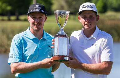 May 1, 2017; Avondale, LA, USA; Jonas Blixt (left) and  Cameron Smith (right) hold the Zurich Classic championship trophy after winning the sudden-death playoff at TPC Louisiana., Image: 330809312, License: Rights-managed, Restrictions: *** World Rights ***, Model Release: no, Credit line: Profimedia, SIPA USA