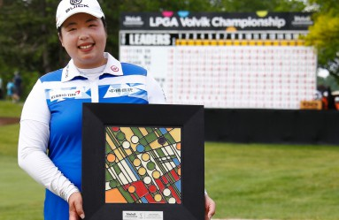 ANN ARBOR, MI - MAY 28: Shanshan Feng of China poses with the championship trophy after winning the LPGA Volvik Championship on May 28, 2017 at Travis Pointe Country Club Ann Arbor, Michigan.   Gregory Shamus, Image: 333891554, License: Rights-managed, Restrictions: , Model Release: no, Credit line: Profimedia, Getty images