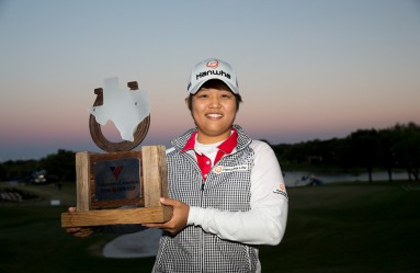 IRVING, TX - APRIL 30: Haru Nomura of Japan poses with the champion's trophy following her playoff victory over Cristie Kerr in the final round of the Volunteers of America North Texas Shootout at Las Colinas Country Club on April 30, 2017 in Irving, Texas.   Darren Carroll, Image: 330746468, License: Rights-managed, Restrictions: , Model Release: no, Credit line: Profimedia, Getty images