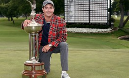 FORT WORTH, TX - MAY 28: Kevin Kisner celebrates with the Leonard Trophy after winning the DEAN & DELUCA Invitational on May 28, 2017 in Fort Worth, Texas.   Stacy Revere, Image: 333908878, License: Rights-managed, Restrictions: , Model Release: no, Credit line: Profimedia, Getty images