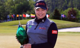 CAMBRIDGE, CANADA - JUNE 11: Ariya Jutanugarn of Thailand with the trophy after sinking her birdie putt on the 1st playoff hole to win during the final round of the Manulife LPGA Classic at Whistle Bear Golf Club on June 11, 2017 in Cambridge, Canada.   Vaughn Ridley, Image: 336372649, License: Rights-managed, Restrictions: , Model Release: no, Credit line: Profimedia, Getty images