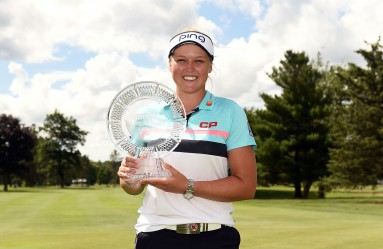 GRAND RAPIDS, MI - JUNE 18: Brooke Henderson of Canada poses with the championship trophy during the final round of the Meijer LPGA Classic at Blythefield Country Club on June 18, 2017 in Grand Rapids, Michigan.   Stacy Revere, Image: 338277580, License: Rights-managed, Restrictions: , Model Release: no, Credit line: Profimedia, Getty images