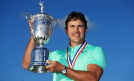 HARTFORD, WI - JUNE 18: Brooks Koepka of the United States poses with the winner's trophy after his victory at the 2017 U.S. Open at Erin Hills on June 18, 2017 in Hartford, Wisconsin.   Andrew Redington, Image: 338295457, License: Rights-managed, Restrictions: , Model Release: no, Credit line: Profimedia, Getty images