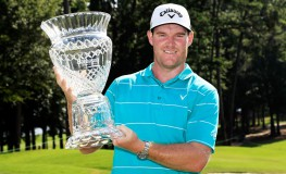 AUBURN, AL - JULY 23: Grayson Murray of the United States celebrates with the trophy after winning on the 18th green during the final round of the Barbasol Championship at the Robert Trent Jones Golf Trail at Grand National on July 23, 2017 in Auburn, Alabama.   Sam Greenwood, Image: 342807650, License: Rights-managed, Restrictions: , Model Release: no, Credit line: Profimedia, Getty images