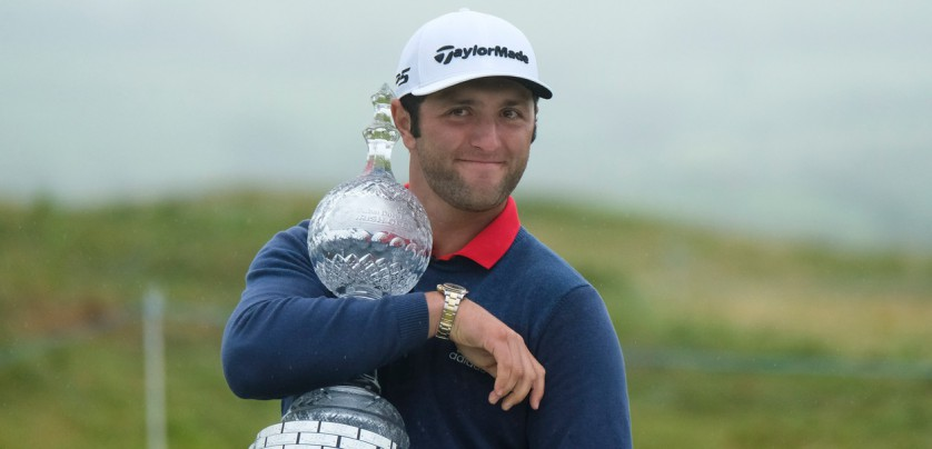 July 9th 2017, Portstewart Golf Club, Portstewart, Northern Ireland; Dubai Duty Free Irish Open Golf Championship, Day 4; Jon Rahm (ESP) celebrates with the trophy after winning the Dubai Duty Free Irish Open Golf Championship with a score of 24 under, Image: 341349665, License: Rights-managed, Restrictions: , Model Release: no, Credit line: Profimedia, Actionplus