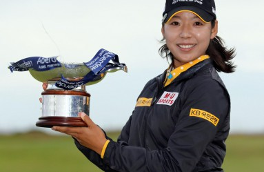 Lee Mi Hyang of South Korea holds the victor's trophy after winning the Ladies Scottish Open title with a 6-under 282 at Dundonald Links in Gailes, Scotland, on July 30, 2017. (Kyodo) ==Kyodo, Image: 343521441, License: Rights-managed, Restrictions: , Model Release: no, Credit line: Profimedia, Newscom