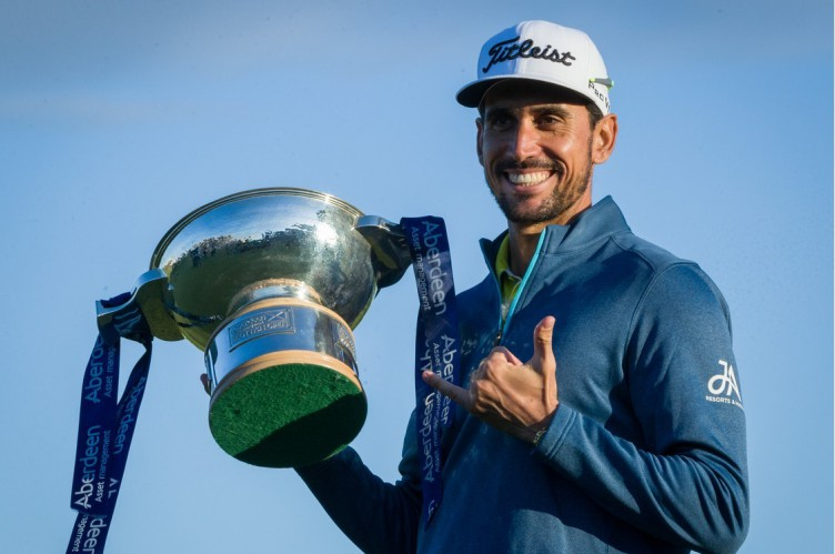 Rafa Cabrera Bello with the Aberdeen Asset Management Quaich after winning a sudden death play-off with Callum Shinkwin The Aberdeen Asset Management Scottish Open Golf Chamionship, 4th Round, Dundonald Links, Ayrshire, UK, 16 July 2017, Image: 342084591, License: Rights-managed, Restrictions: , Model Release: no, Credit line: Profimedia, TEMP Shutterstock