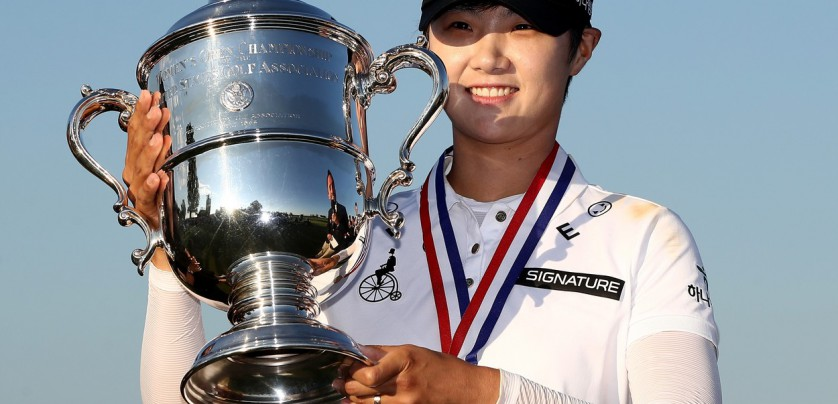 BEDMINSTER, NJ - JULY 16: Sung Hyun Park of Korea poses with the trophy after the final round of the U.S. Women's Open on July 16, 2017 at Trump National Golf Club in Bedminster, New Jersey.   Elsa, Image: 342103464, License: Rights-managed, Restrictions: , Model Release: no, Credit line: Profimedia, Getty images