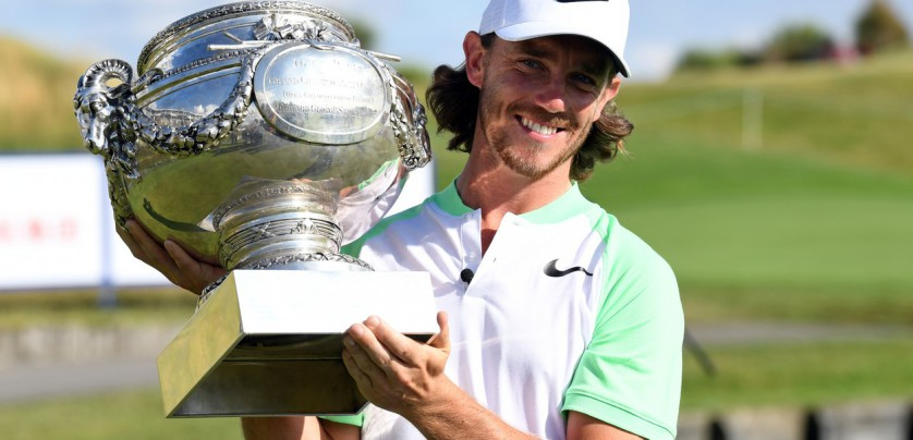Britain's Tommy Fleetwood poses with the trophy after winning the HNA Open de France golf tournament on July 2, 2017 at Le Golf National in Guyancourt, near Paris., Image: 340090916, License: Rights-managed, Restrictions: , Model Release: no, Credit line: Profimedia, AFP