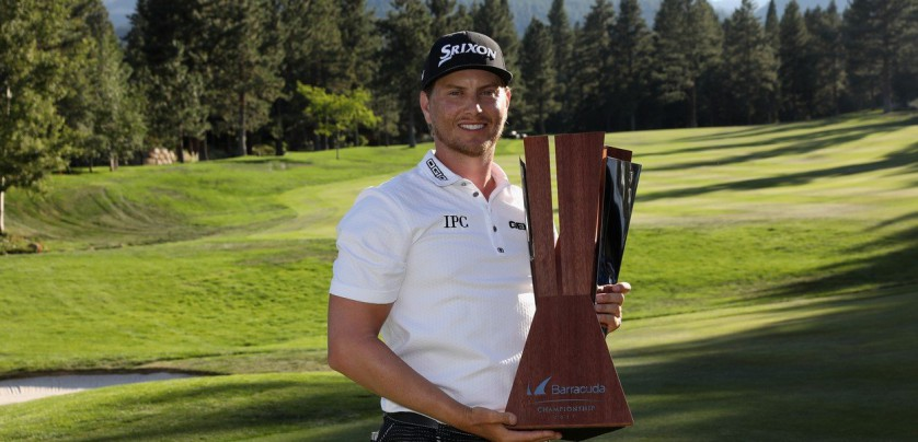 RENO, NV - AUGUST 06: Chris Stroud poses with the trophy after putting in to win during a second play-off hole during the final round of the Barracuda Championship at Montreux Country Club on August 6, 2017 in Reno, Nevada.   Christian Petersen, Image: 344321545, License: Rights-managed, Restrictions: , Model Release: no, Credit line: Profimedia, Getty images