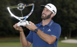 Dustin Johnson holds the championship trophy on the 18th green after he makes a birdie on the first playoff hole in his playoff against Jordan Spieth in the final round of The Northern Trust golf championship at the Glen Oaks Club in Old Westbury, New York on August 27, 2017. Johnson wins The Northern Trust with a score of 13 under par.     Photo by /UPI, Image: 347380327, License: Rights-managed, Restrictions: , Model Release: no, Credit line: Profimedia, UPI