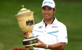 AKRON, OH - AUGUST 06: Hideki Matsuyama of Japan holds the Gary Player Cup after winning the World Golf Championships - Bridgestone Invitational during the final round at Firestone Country Club South Course on August 6, 2017 in Akron, Ohio. Matsuyama finished with a score of -16.   Gregory Shamus, Image: 344306854, License: Rights-managed, Restrictions: , Model Release: no, Credit line: Profimedia, Getty images