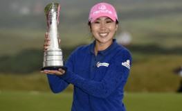 Korea's In-Kyung Kim poses with the trophy after her victory in the 2017 Women's British Open Golf Championship at Kingsbarns Golf Links near St. Andrews, east Scotland, on August 6, 2017. South Korea's In-Kyung Kim held her nerve and finally claimed her first major title with a final round 71 at the Women's British Open at Kingsbarns on Sunday., Image: 344293664, License: Rights-managed, Restrictions: , Model Release: no, Credit line: Profimedia, AFP