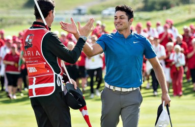 US golfer Julian Suri (R) celebrates winning the Made in Denmark tournament in Gatten, Denmark on August 27, 2017. American Julian Suri claimed his maiden European Tour victory by four shots thanks to a stunning final-round 64 at the Made in Denmark tournament on Sunday., Image: 347344936, License: Rights-managed, Restrictions: Denmark OUT, Model Release: no, Credit line: Profimedia, AFP