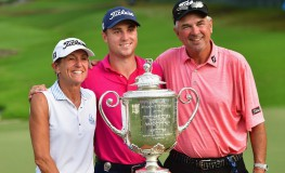 CHARLOTTE, NC - AUGUST 13: Justin Thomas of the United States and his parents Mike and Jani Thomas pose with the Wanamaker Trophy after winning the 2017 PGA Championship during the final round at Quail Hollow Club on August 13, 2017 in Charlotte, North Carolina. Thomas finished with an -8.   Stuart Franklin, Image: 344987081, License: Rights-managed, Restrictions: , Model Release: no, Credit line: Profimedia, Getty images