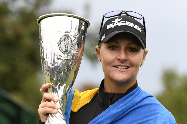 EVIAN-LES-BAINS, FRANCE - SEPTEMBER 17: Anna Nordqvist of Sweden celebrate the victory during The Evian Championship on September 17, 2017 in Evian-les-Bains, France., Image: 349721297, License: Rights-managed, Restrictions: , Model Release: no, Credit line: Profimedia, Zuma Press - News