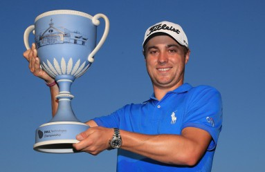 NORTON, MA - SEPTEMBER 04: Justin Thomas of the United States poses with the trophy after winning the Dell Technologies Championship at TPC Boston on September 4, 2017 in Norton, Massachusetts.   Andrew Redington, Image: 348342272, License: Rights-managed, Restrictions: , Model Release: no, Credit line: Profimedia, Getty images