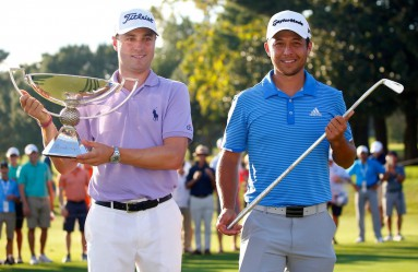 Sep 24, 2017; Atlanta, GA, USA; Justin Thomas hoists the trophy after winning the FedEx Cup with Xander Schauffele holding Calamity Jane a replica of Bobby Jones putter after winning the Tour Championship golf tournament at East Lake Golf Club., Image: 350403278, License: Rights-managed, Restrictions: *** World Rights ***, Model Release: no, Credit line: Profimedia, SIPA USA