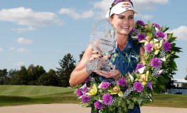 INDIANAPOLIS, IN - SEPTEMBER 09: LPGA golfer Lexi Thompson holds up the trophy and receives an Indy 500 winners wreath after winning on the final round of the Indy Women In Tech on September 9, 2017 at the Brickyard Crossing Golf Club in Indianapolis, Indiana., Image: 348863997, License: Rights-managed, Restrictions: FOR EDITORIAL USE ONLY. Icon Sportswire (A Division of XML Team Solutions) reserves the right to pursue unauthorized users of this image. If you violate our intellectual property you may be liable for: actual damages, loss of income, and profits you derive from the use of this image, and, where appropriate, the costs of collection and/or statutory damages up to $150,000 (USD)., Model Release: no, Credit line: Profimedia, Newscom