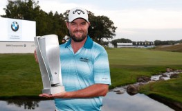 Sep 17, 2017; Lake Forest, IL, USA; Marc Leishman poses with the BMW Championship Trophy after winning the BMW Championship golf tournament at Conway Farms Golf Club., Image: 349683173, License: Rights-managed, Restrictions: *** World Rights ***, Model Release: no, Credit line: Profimedia, SIPA USA