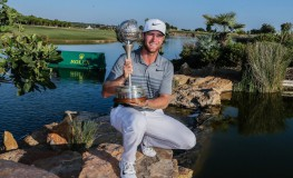 Danish golf player Lucas Bjerregaard poses with his trophy after winning the Portugal Masters golf tournament held in Vilamoura, Algarve, Portugal, 24 September 2017.  EPA-EFE/, Image: 350386648, License: Rights-managed, Restrictions: , Model Release: no, Credit line: Profimedia, TEMP EPA