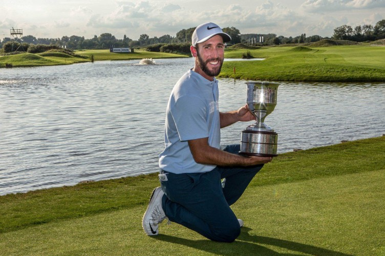 Winner Romain Wattel of France shows his cup after the fourth day of the KLM Open golf tournament at golf course The Dutch in Spijk, The Netherlands, 17 September 2017.  EPA-EFE/, Image: 349656567, License: Rights-managed, Restrictions: , Model Release: no, Credit line: Profimedia, TEMP EPA
