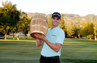 NAPA, CA - OCTOBER 08: Brendan Steele poses with the trophy after winning The Safeway Open at the North Course of the Silverado Resort and Spa on October 8, 2017 in Napa, California.   Robert Laberge, Image: 352252766, License: Rights-managed, Restrictions: , Model Release: no, Credit line: Profimedia, Getty images