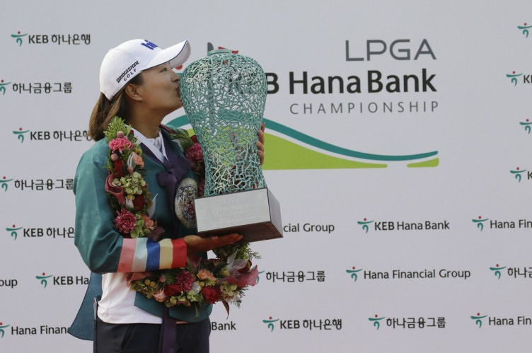 October 15, 2017 - Incheon, South Korea - Jin Young Ko of South Korea wins ceremony after match  during an KEB HANA BANK LPGA Championship Final at Sky72 Ocean Golf range in Incheon, South Korea. Match win score by 4round -19under par., Image: 352913271, License: Rights-managed, Restrictions: , Model Release: no, Credit line: Profimedia, Zuma Press - News