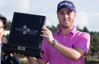 22 October 2017 - Jeju Island, South Korea : Justin Thomas of the United States poses with the trophy after winning the CJ Cup PGA Golf Championship at Nine Bridges in Jeju Island, South Korea on October 22, 2017., Image: 353614408, License: Rights-managed, Restrictions: *** World Rights ***, Model Release: no, Credit line: Profimedia, SIPA USA