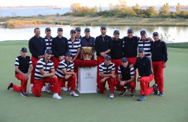 Oct 1, 2017; Jersey City, NJ, USA; The U.S. team pose with the Presidents Cup after defeating the International team in the final round singles matches of The President's Cup golf tournament at Liberty National Golf Course., Image: 351295209, License: Rights-managed, Restrictions: *** World Rights ***, Model Release: no, Credit line: Profimedia, SIPA USA