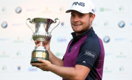 Tyrrell Hatton of England poses with his trophy after winning the 74th Italian Open Golf tournament, in Monza, Italy, 15 October 2017.  EPA-EFE/, Image: 352938113, License: Rights-managed, Restrictions: , Model Release: no, Credit line: Profimedia, TEMP EPA