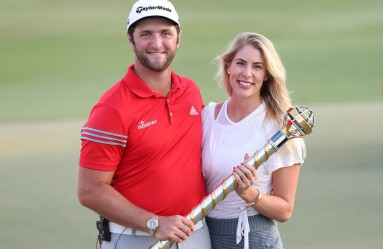 Jon Rahm of Spain poses with his girlfriend Kelley Cahill following his victory at the end of the final round of the DP World Tour Golf Championship at Jumeirah Golf Estates on November 19, 2017, in Dubai., Image: 355707116, License: Rights-managed, Restrictions: , Model Release: no, Credit line: Profimedia, AFP