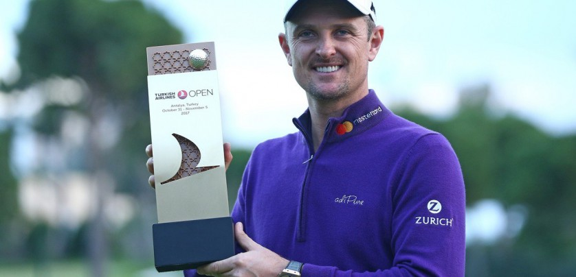 ANTALYA, TURKEY - NOVEMBER 05: Justin Rose of England poses with a trophy after getting the first place in the Turkish Airlines Open 2017 Golf Tournament in Antalya, Turkey on November 05, 2017. Orhan Cicek / Anadolu Agency, Image: 354666299, License: Rights-managed, Restrictions: , Model Release: no, Credit line: Profimedia, Abaca