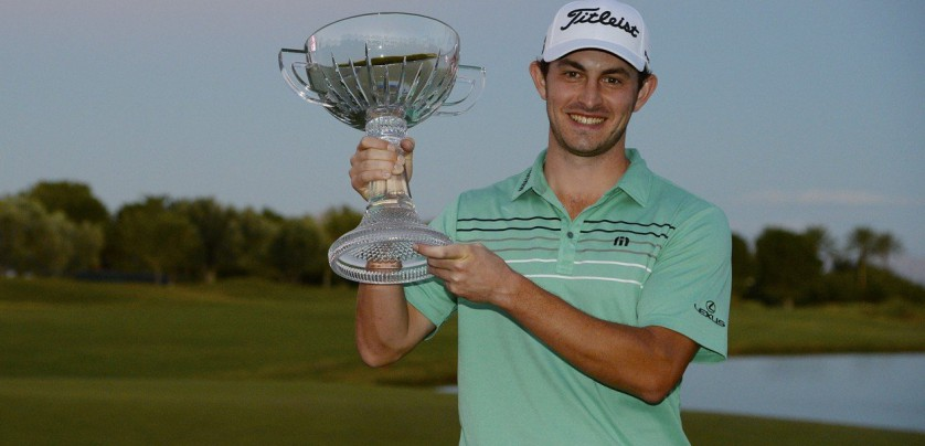 LAS VEGAS, NV - NOVEMBER 05: Patrick Cantlay poses with the winner's trophy after winning the Shriners Hospitals For Children Open at the TPC Summerlin on November 5, 2017 in Las Vegas, Nevada.   Robert Laberge, Image: 354708193, License: Rights-managed, Restrictions: , Model Release: no, Credit line: Profimedia, Getty images