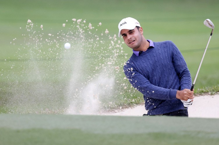 Shubhankar Sharma of India hits a shot out of the bunker on the 10th hole during round three of the Hong Kong Open tournament at the Hong Kong Golf Club on November 25, 2017., Image: 356137510, License: Rights-managed, Restrictions: , Model Release: no, Credit line: Profimedia, AFP