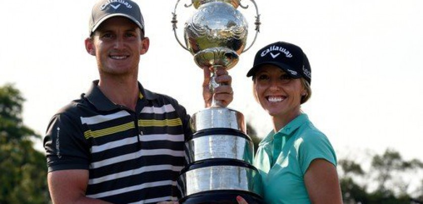 Winner Chris Paisley of England celebrates with his wife and caddie, Keri, at the annual BMW SA Open Golf Championship played at Glendower Golf Course, Johannesburg, South Africa, 14  January 2018.  EPA-EFE/, Image: 360133151, License: Rights-managed, Restrictions: , Model Release: no, Credit line: Profimedia, TEMP EPA