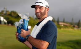 Jan 7, 2018; Maui, HI, USA; PGA golfer Dustin Johnson poses with the trophy after winning the Sentry Tournament of Champions golf tournament at Kapalua Resort - The Plantation Course., Image: 359521488, License: Rights-managed, Restrictions: *** World Rights ***, Model Release: no, Credit line: Profimedia, SIPA USA