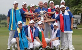 Team Europe hold a trophy after winning the EurAsia Cup golf tournament in Glenmarie, Malaysia, 14 January 2018.  EPA-EFE/, Image: 360100158, License: Rights-managed, Restrictions: , Model Release: no, Credit line: Profimedia, TEMP EPA