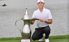 Li Haotong of China poses with the winner's trophy while celebrating his victory in the the Dubai Desert Classic at Emirates Golf Club on January 28, 2018, in Dubai., Image: 361599150, License: Rights-managed, Restrictions: , Model Release: no, Credit line: Profimedia, AFP