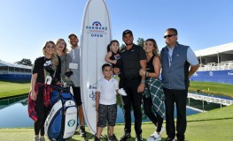 SAN DIEGO, CA - JANUARY 29: Jason Day of Australia poses with his wife, Ellie Day, his children, Dash and Lucy, and his caddie, Rika Batibasaga, after winning the Farmers Insurance Open on the sixth playoff hole at Torrey Pines South on January 29, 2018 in San Diego, California.   Donald Miralle, Image: 361728603, License: Rights-managed, Restrictions: , Model Release: no, Credit line: Profimedia, Getty images